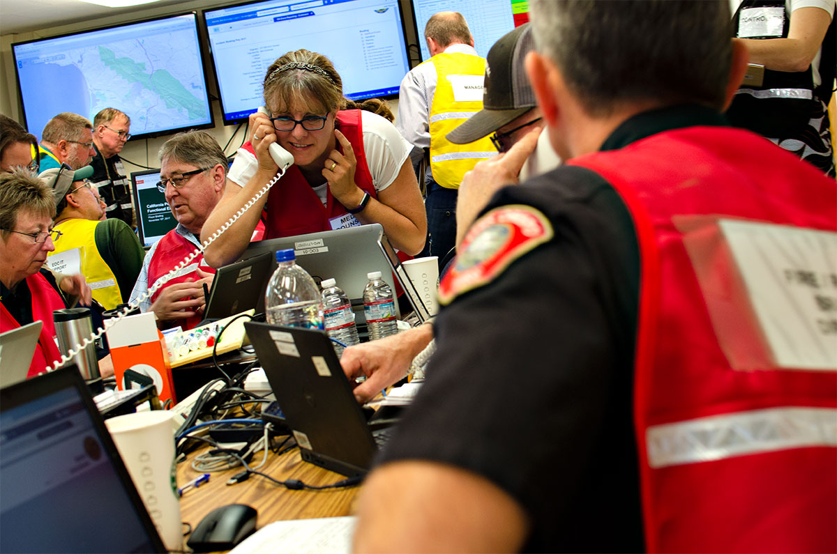 Emergency management team and volunteers in a mock emergency