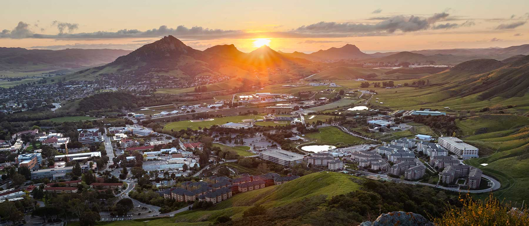 Arial view of campus at sunset