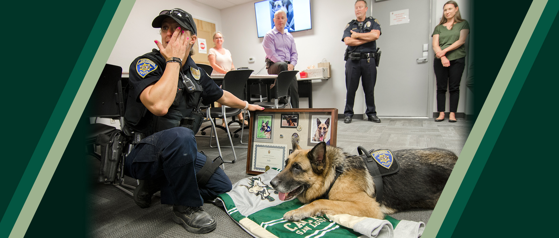 K-9 Xello during a retirement ceremony