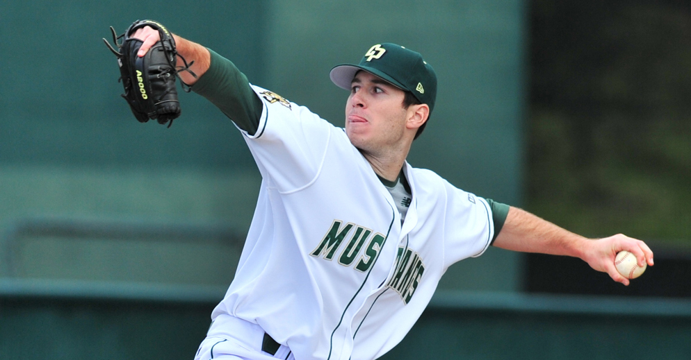Baseball player in Cal Poly Uniform