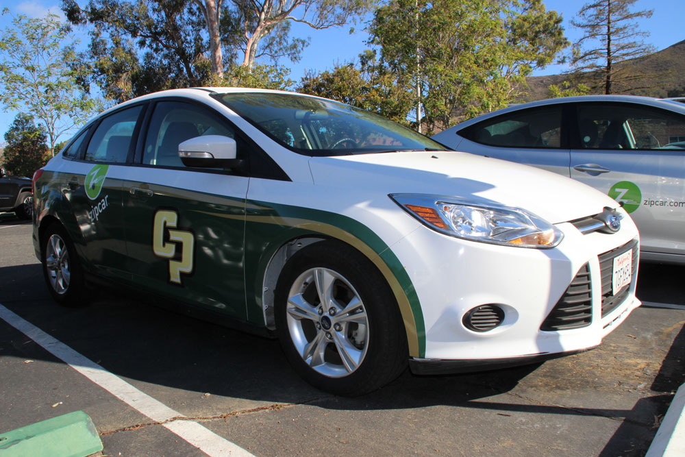 Zipcar branded with Cal Poly