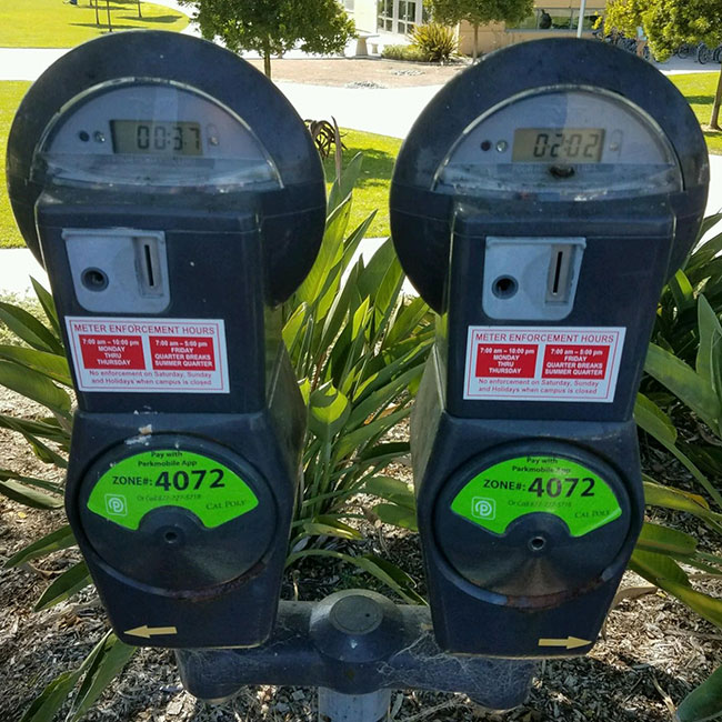 Cal Poly Meter with Parkmobile Sticker