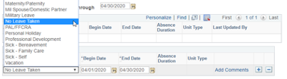 Absence dropdown menu in portal PAL/FFCRA is highlighted in red