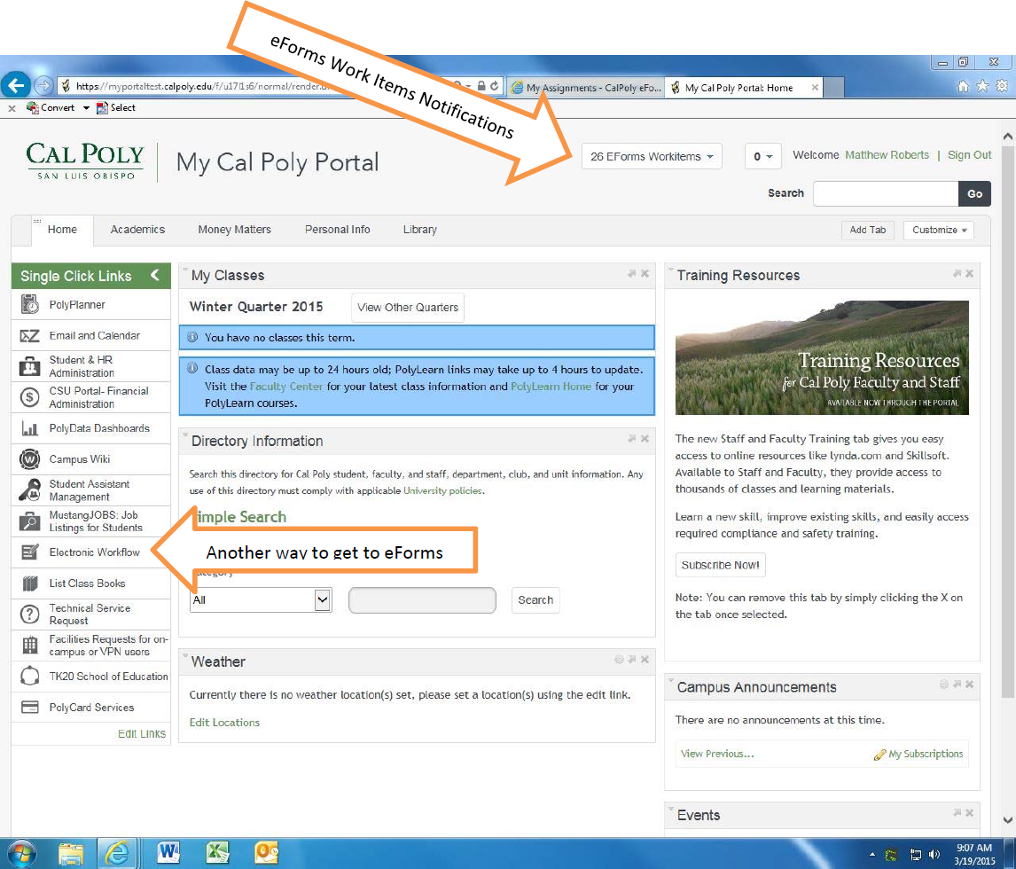 Screenshot showing 2 links to eForms in the Portal