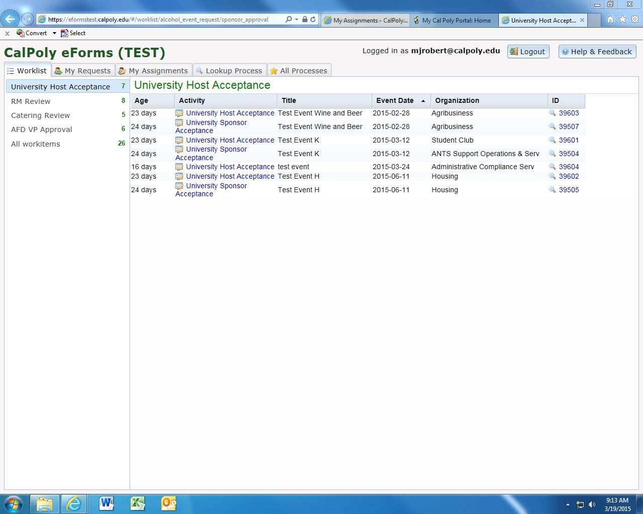 Screenshot of eForms page