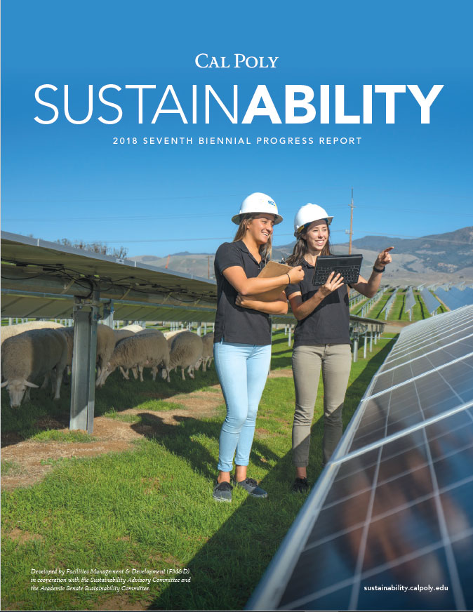 cover of the biennial report, women wearing hard hats in the Cal Poly Solar Farm